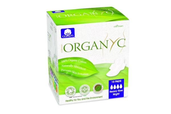 Absorbante intime Organyc din bumbac organic pentru noapte 10 bucati