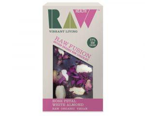 Ciocolată artizanală cu migdale și petale trandafir raw bio 30g