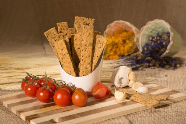 Crackers vegani cu roşii şi usturoi Hiper Ambrozia 125 gr