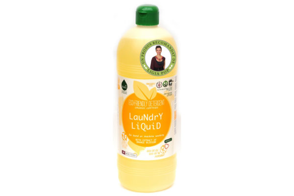 Detergent ecologic lichid pentru rufe albe si colorate portocale 1L