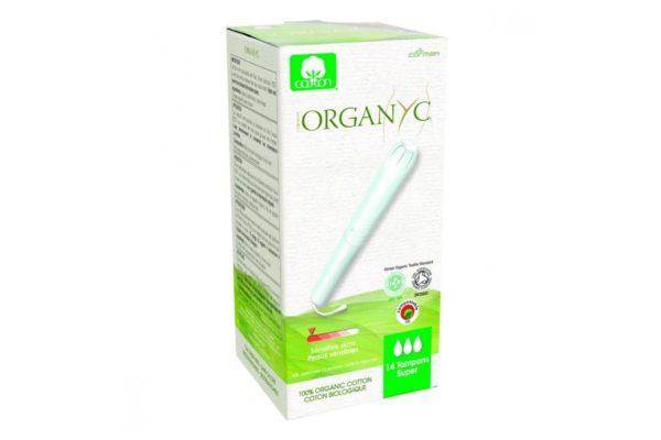 Tampoane Organyc SUPER din bumbac organic cu aplicator 14 bucati
