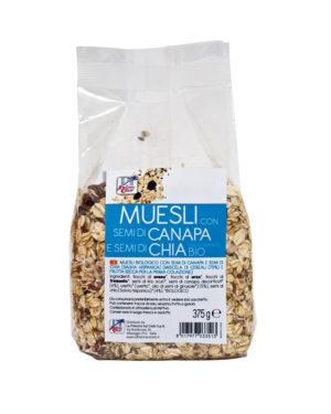 Musli crocant bio cuseminte de canepa si seminţe de chia 375 gr