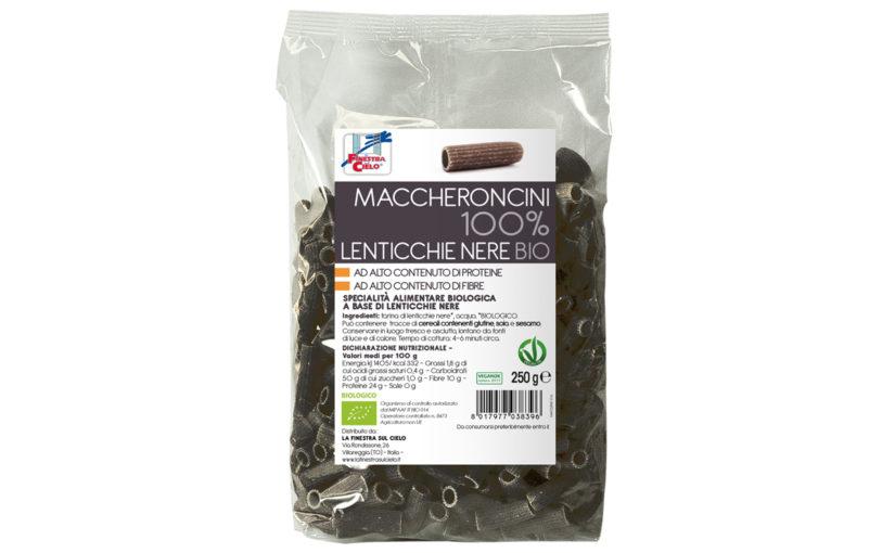 Paste bio Maccheroncini din linte neagră 100% 250 gr