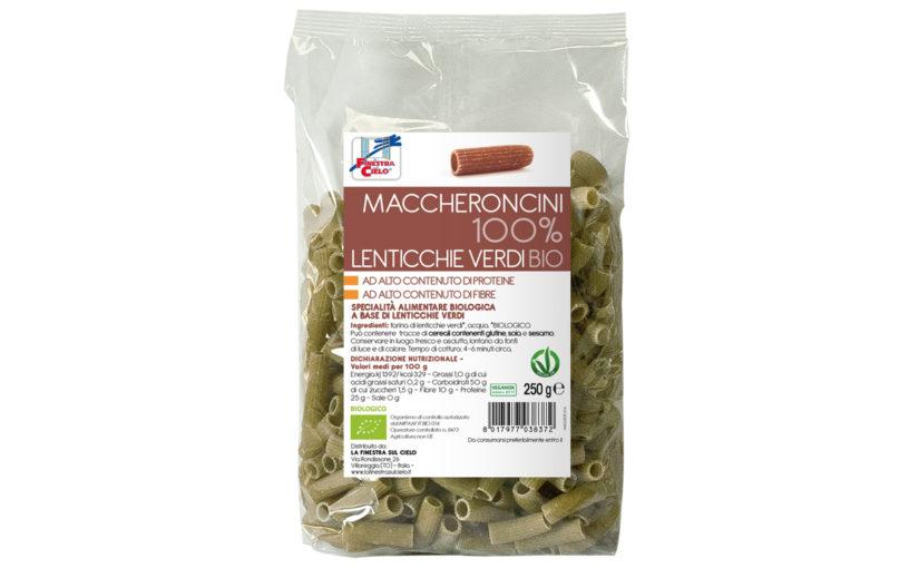 Paste bio Maccheroncini din linte verde 100% 250 gr