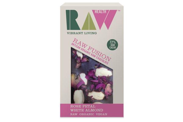 Ciocolată artizanală cu migdale și petale trandafir raw bio 30 gr