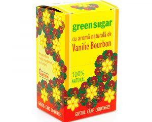 Îndulcitor Green Sugar cu aroma naturala de Vanilie Bourbon, 10 plicuri