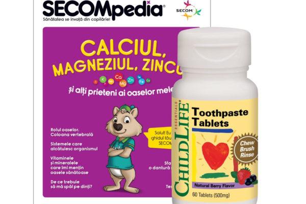 Tablete pastă de dinţi gust de fructe Secom 60 tablete
