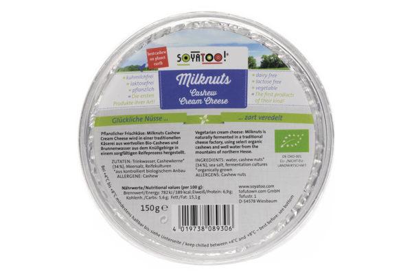 Cremă vegetariană de brânză pe bază de caju, Milknuts, 150 gr