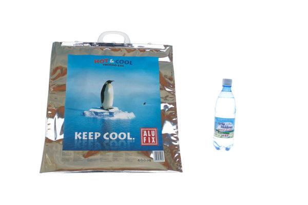 Pachet răcire - sacoșă termoizolantă + apă alcalină Perla Moldovei 0,5 litri