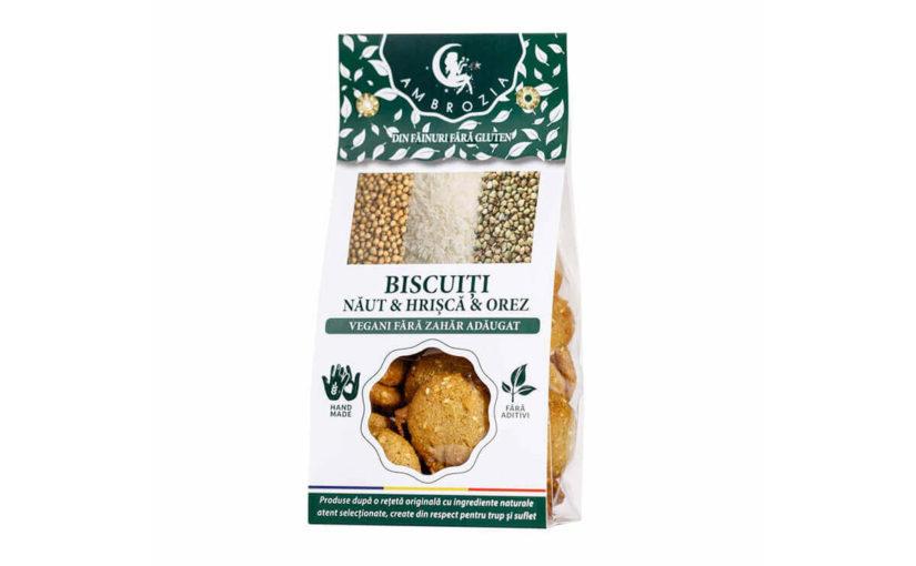 Biscuiți vegani fără zahăr cu năut, hrișcă și orez Hiper Ambrozia 150 gr