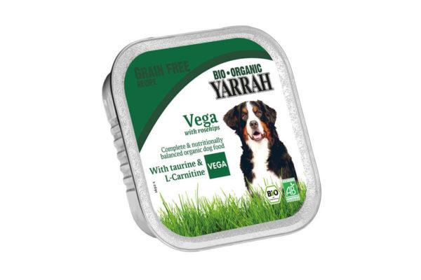 Hrană umedă bio cu măceșe pentru câini Yarrah 150 gr