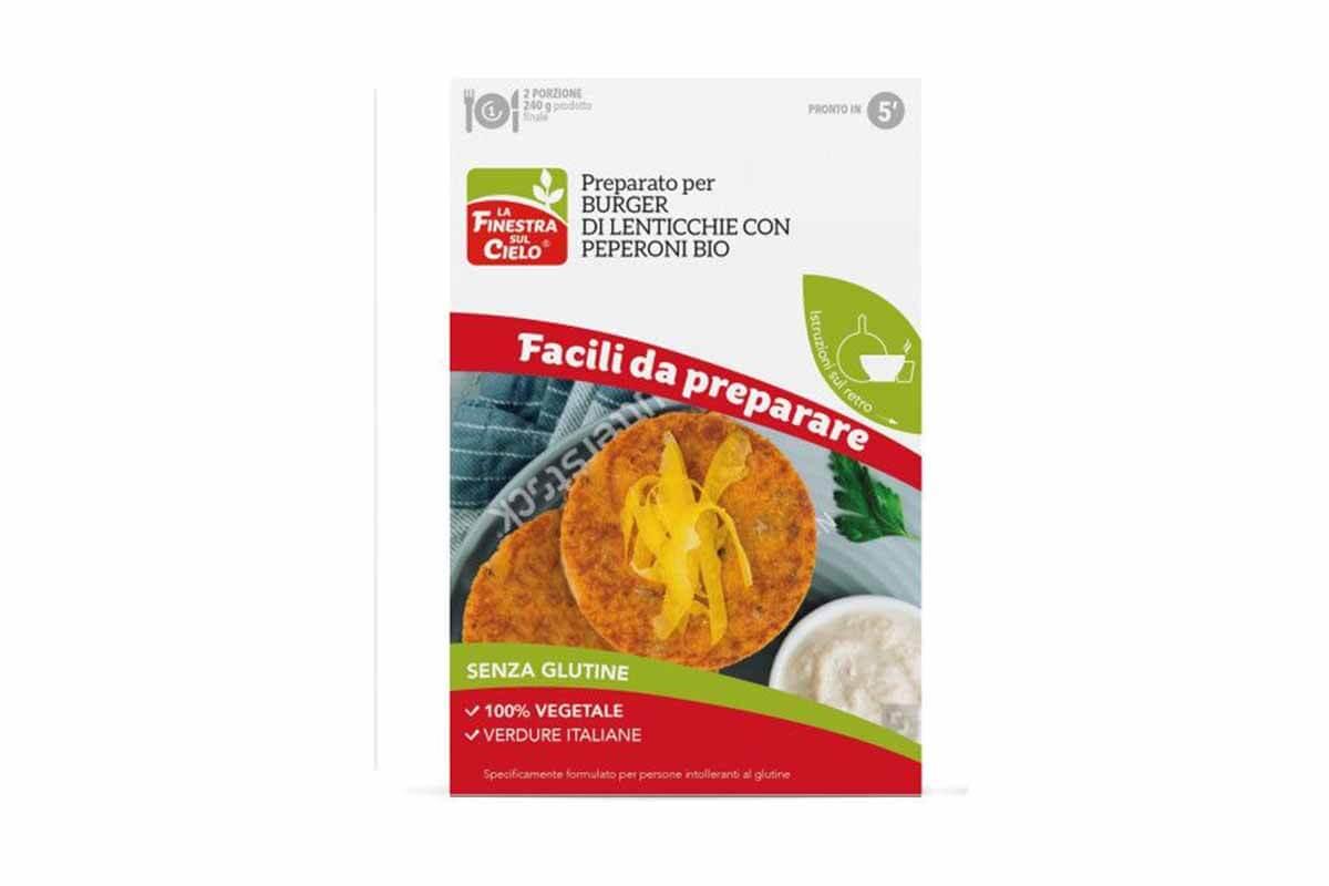 Mix bio fără gluten pentru burger vegan cu linte și ardei La Finestra sul Cielo 86 gr