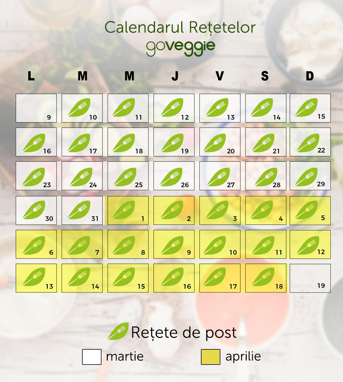 Calendar retete de post GoVeggie 2020